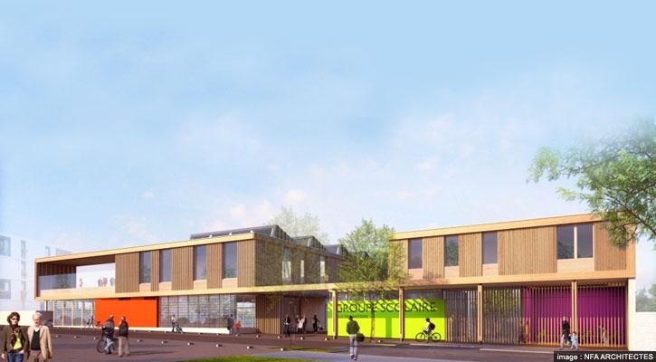 Groupe scolaire Abdelmalek Sayad de NFA Architectes dans la ZAC Centre - Sainte geneviève à Nanterre