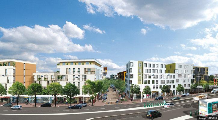 Perspective sur la nouvelle rue AbdelMalek Sayad dans la ZAC Centre - Sainte geneviève à Nanterre