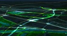 vue aérienne nocturne de l'Arc Central